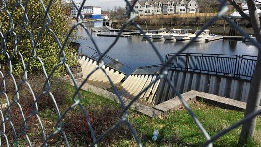 Bulkhead collapses along the Byram River in Port Chester have kept a pedestrian walkway closed.