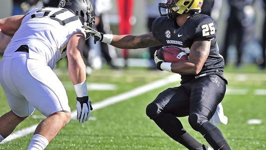 Former Vanderbilt running back Brian Kimbrow (25) has all the talents to make an impact. It's just finding out where he fits.