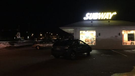 A car is parked outside the Subway at Route 30 and North Hills Road in Springettsbury Township on Friday. A man who told police he was shot at while driving his Subaru while traveling west on Route 30, pulled into the parking lot to call 911, police said.