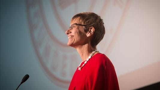 Cornell University President Elizabeth Garrett delivers the State of the University address in October 2015.
