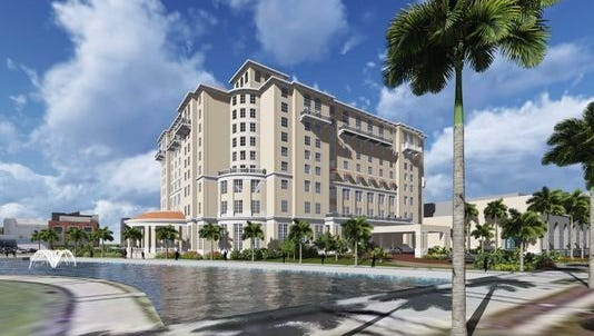 Special to The News-Press. A rendering of the Sheraton Harborside Hotel and Convention Center, one of the few new hotel properties in Lee County's lodgings pipeline.