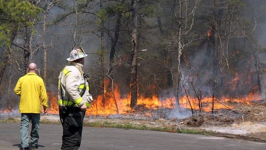 The New Jersey Forest Fire Service is conducting a controlled burn today in the Ten Mile Run section of Franklin.