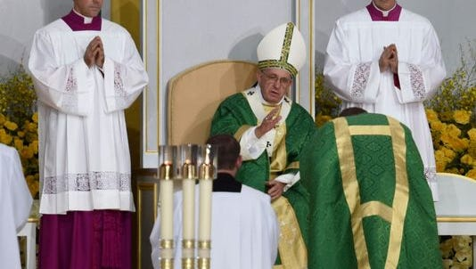Pope Francis is shown in Philadelphia on Sept. 27, 2015, in this file photo