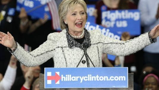 Hillary Clinton gives a victory speech to supporters on Feb. 27, 2016, in Columbia.