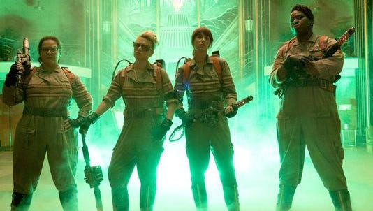 The Ghostbusters, from left, Abby (Melissa McCarthy), Holtzmann (Kate McKinnon), Erin (Kristen Wiig) and Patty (Leslie Jones).