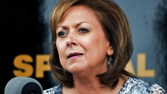 In this Sept. 4, 2015 file photo, New Mexico Gov. Susana Martinez speaks at a news conference in Albuquerque. Republican presidential hopeful Marco Rubio's campaign says Martinez is set to endorse the Florida senator. Rubio's campaign says the nation's only Latina governor and chair of the Republican Governors Association will announce her support for him on Thursday, March 3, and plans to campaign with Rubio in Kansas on Friday.
