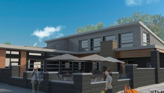 A rendering of the exterior of Arcadia Ales & Smokehouse, The brewpub will open in Lansing as early as August.