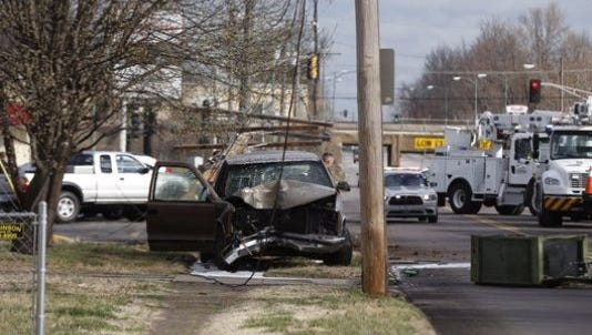 A vehicle crashed on Grant Avenue near Commercial Street after running from deputies.
