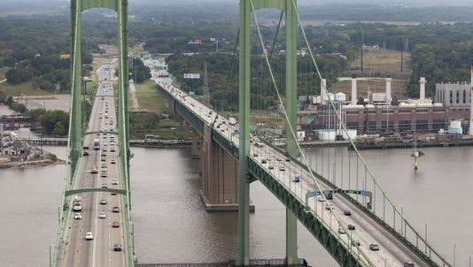 Two lanes on the Delaware Memorial Bridge are closed until 3 p.m.