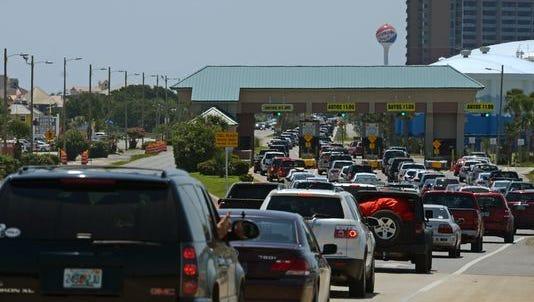 Beachgoers backup traffic on U.S. 98.