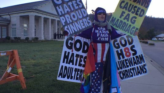 Members of Westboro Baptist Church protested against gay marriage and Rowan County Clerk Kim Davis on Monday.