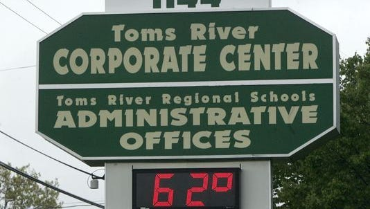 The sign at 1144 Hooper Avenue, headquarters of the Toms River Regional School District.