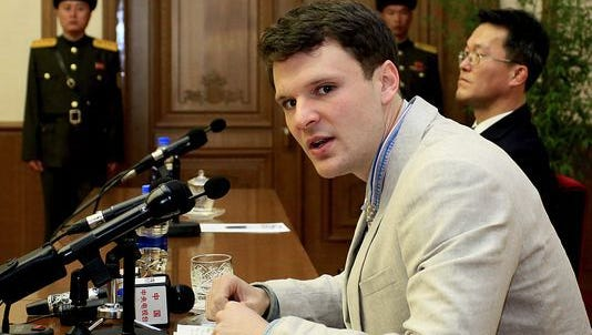 Otto Warmbier  during a press conference on Monday, Feb. 29, 2016, in Pyongyang, North Korea.