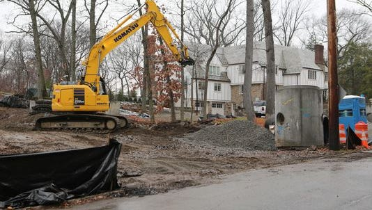 Construction equipment on a property along Durham Road in the town of Mamaroneck