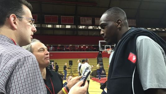 Jameel Warney came to the RAC for Steve Pikiell's introduction at Rutgers in March.