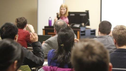 Graduate students at a Purdue Graduate Student Government meeting on Jan. 27.