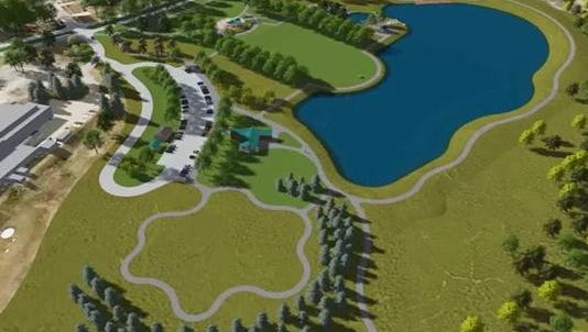 At left, this flyover rendering of a finished Terra Lake Park looks down on the eight-acre lake, fishing pier and south perimeter trail.