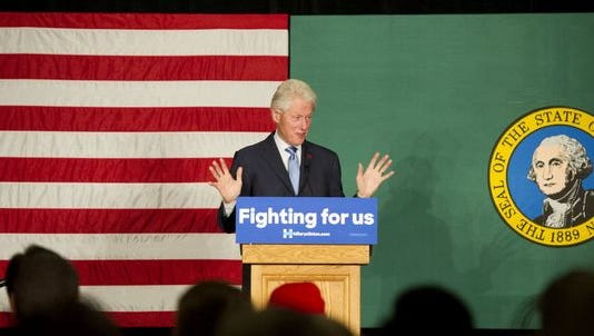 Bill Clinton campaigns for his wife in Spokane, Washington, on March 21, 2016.