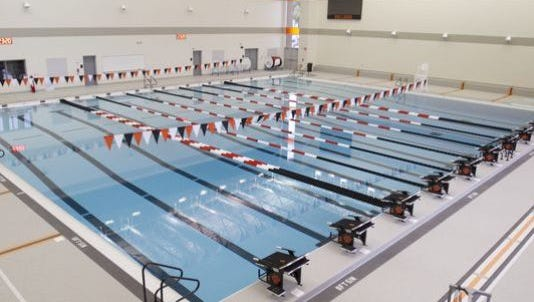This is the new 12 lane Brighton High School community pool that replaced the old 6 lane pool. The 6 lane pool is now turned into a community fitness center.