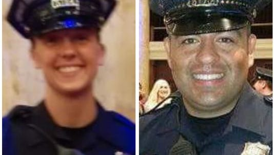 Des Moines police officers Susan Farrell and Carlos Puente-Morales were killed Saturday, March 26, 2016, in an accident on Interstate 80.