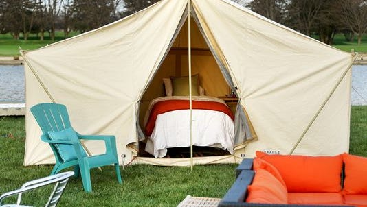 A glamping site is shown at Indianapolis Motor Speedway.