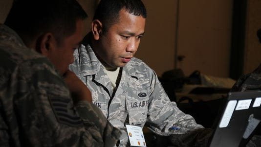 The Air National Guard is standing up dedicated cyber units to aid U.S. Cyber Command. Here, Staff Sgt. Visconti Christman, with the 109th Air Operations Group, Hawaii Air National Guard, defends against cyber attacks during the Po'oihe 2015 Cyber Security Exercise at the University of Hawaii in June.