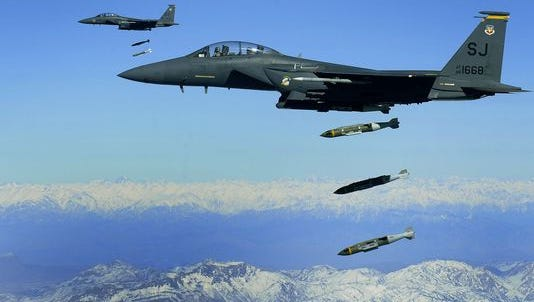 Munitions have been in high demand since the air campaign against the Islamic State began in 2014. Here, Air Force F-15E Strike Eagles drop Joint Direct Attack Munitions in Afghanistan.