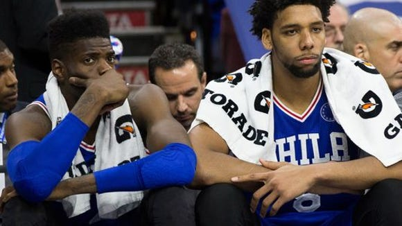 Nerlens Noel and Jahlil Okafor suffer through another loss with the 9-66 76ers.