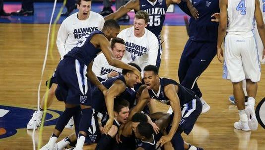 Villanova Wildcats players celebrate.