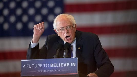 Bernie Sanders speaks at a campaign rally at the Wisconsin Convention Center on April 4, 2016, in Milwaukee.