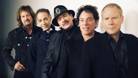 Santana has reunited after 46 years. From left are Gregg Rolie, Michael Carabello, Carlos Santana, Neal Schon and Michael Shrieve.