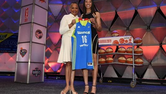WNBA president Lisa Borders poses with Aerial Powers after being drafted No. 5 overall by the Dallas Wings during the Thursday's WNBA draft.