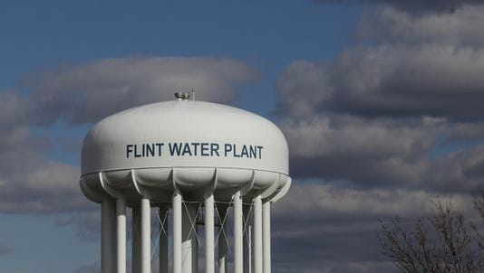 The water tower of the Flint Water Treatment Plant is seen on Monday, March 21, 2016.