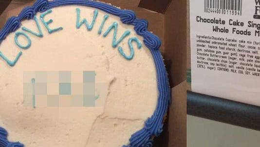 A Texas pastor is suing Whole Foods because he said a bakery worker at its Austin store wrote a gay slur in addition to the requested phrase on a cake. Whole Foods now says the story is fake.