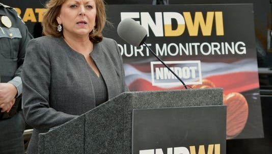 New Mexico Gov. Susana Martinez talks on a new program that will send monitors to courtrooms to watch how judges rule on cases involving suspects with multiple drunken driving convictions, during a news conference in Albuquerque, N.M., Tuesday, April 19, 2016