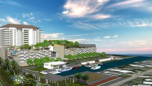 A conceptual rendering of Bay Harbour Marina Village's proposal on the San Carlos Island waterfront would transform an 8-acre parcel used for storing boats and trailers into waterfront community living if a Thursday, April 28  rezoning hearing sees fit.