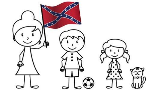 Confederate flag flying soccer mom