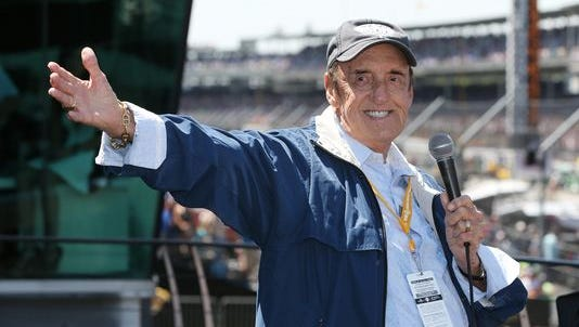 During his last appearance at the Speedway Jim Nabors smiles to the applause of fans before the 98th Indianapolis 500 race at the Indianapolis Motor Speedway Sunday, May 25, 2014.