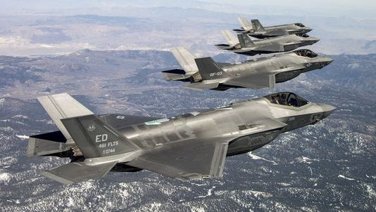 Four F-35s fly during a 4-ship mission at Edwards Air Force Base, California.