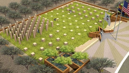 A rendering shows the completed Field of Honor Veterans Memorial at Chandler Oasis Park.