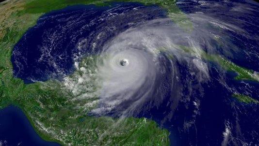 An aerial photo of Hurricane Wilma