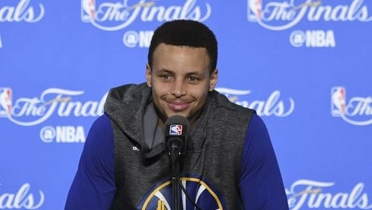 Stephen Curry addresses the media in a press conference during NBA Finals media day at Oracle Arena.