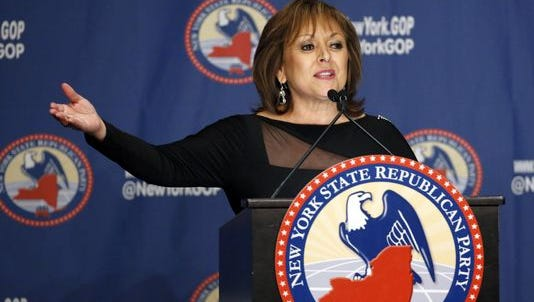 New Mexico Governor Susana Martinez speaks during the New York Republican State Committee Annual Gala Thursday, April 14, 2016, in New York.