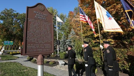 Police honor guard at ceremony in Nyack