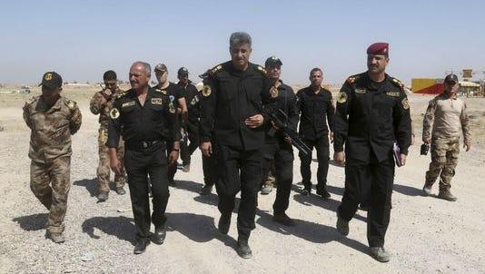 Iraqi Lt. Gen. Abdul-Wahab al-Saadi outside Fallujah last month. .