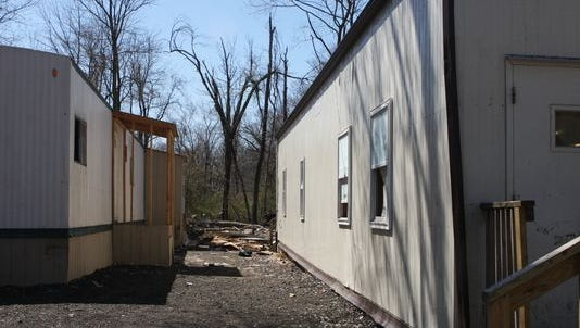 Trailers at a yeshiva at 33 Forshay Road, which the town ordered closed for violations