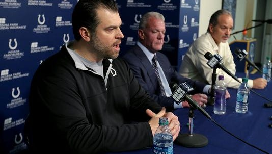 The Indianapolis Colts announce that head coach Chuck Pagano will return as he signs a contract extension with the team. Here Indianapolis Colts GM Ryan Grigson,left, addresses the media as team owner Jim Irsay and head coach Chuck Pagano,right, listen.