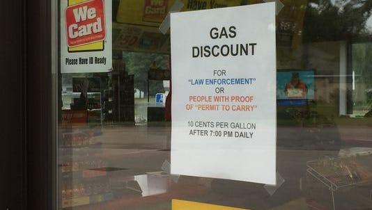 The Shell gas station at 400 Benton Drive S is offering a discount to law enforcement officers and those who show valid proof of a permit to carry a gun. The store owner said the discount is a result of being robbed twice.
