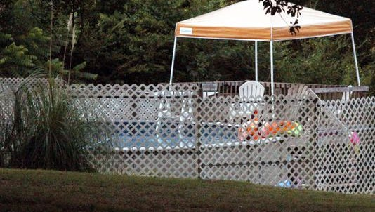 The older sister of 3-year-old twin brothers found the boys submerged June 18, 2016, in this pool near Easley, S.C., while their family was at a social gathering.