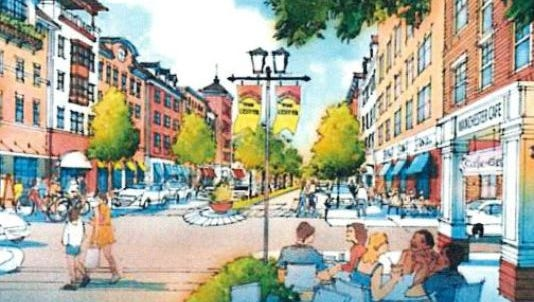 An artist's rendering depicts a vision for Manchester's Heritage Town Center.